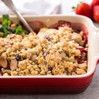 Strawberry Rhubarb Crisp with Almonds Recipe