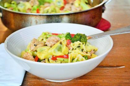 Sausage Broccoli Tortellini Skillet