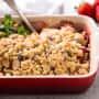 Strawberry Rhubarb Crisp with Almonds