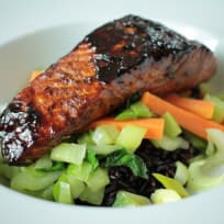 Blackened Salmon with Stir Fry Vegetables and Black Thai Rice
