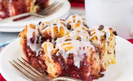Strawberry Chocolate Cinnamon Roll Bake Recipe