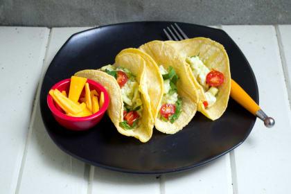 Scrambled Eggs and Avocado Breakfast Tacos