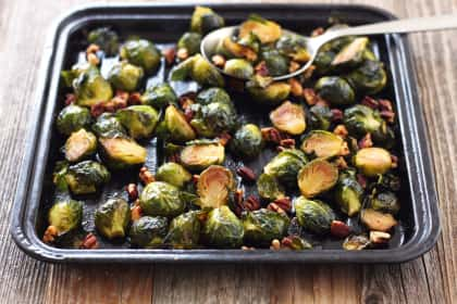 Maple Roasted Brussels Sprouts with Sriracha