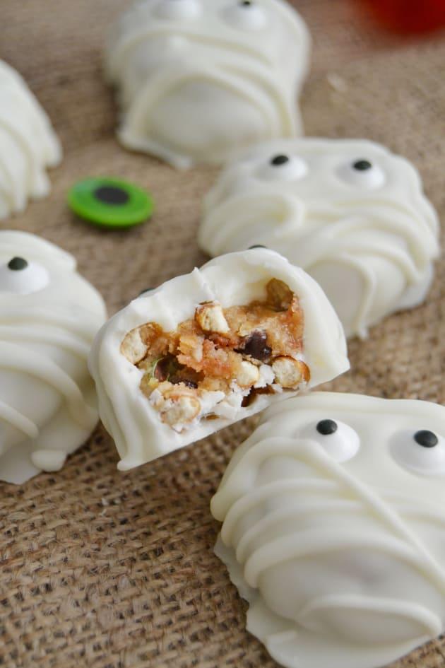 Monster Cookie Dough Pretzel Mummy Bites Image