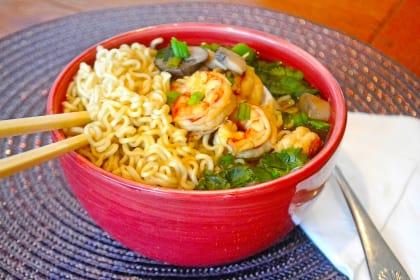 Miso Shrimp Soup with Ramen