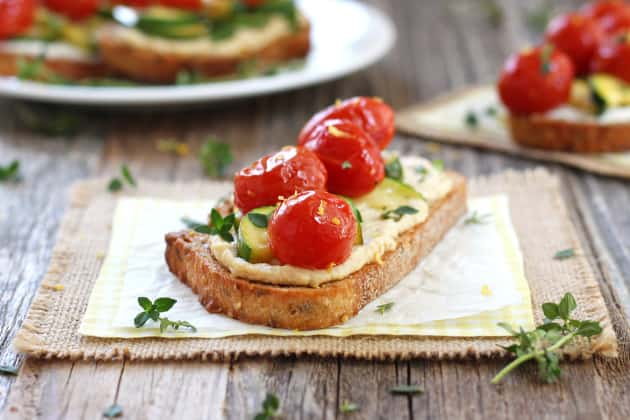 Roasted Zucchini and Tomato Crostini Image