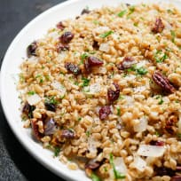 Warm Farro salad with Cranberries and Pecans