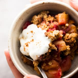 Healthy cranberry apple crisp photo