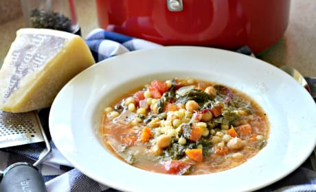 Garbanzo Bean Vegetable Soup with Pearled Couscous Photo