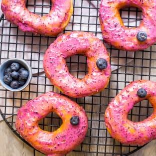 Blueberry bourbon brioche doughnuts photo