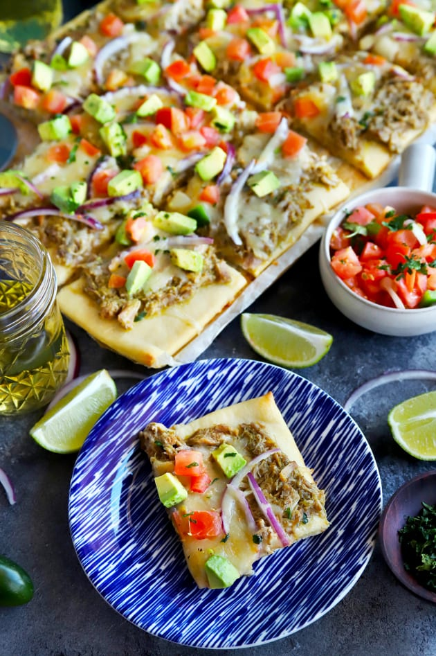 Avocado Pulled Pork Flatbread with Grilled Tomatillo Salsa Picture