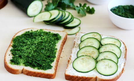 Cucumber and Mint Cilantro Chutney Tea Sandwiches Picture