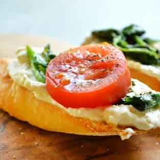 Whipped feta breakfast crostini photo