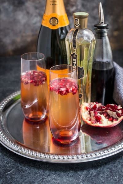 St. Germain and Pomegranate Champagne Cocktail Pic