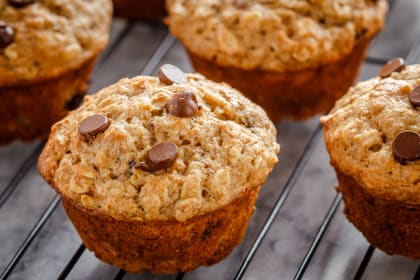 Chocolate Chip Banana Oatmeal Muffins