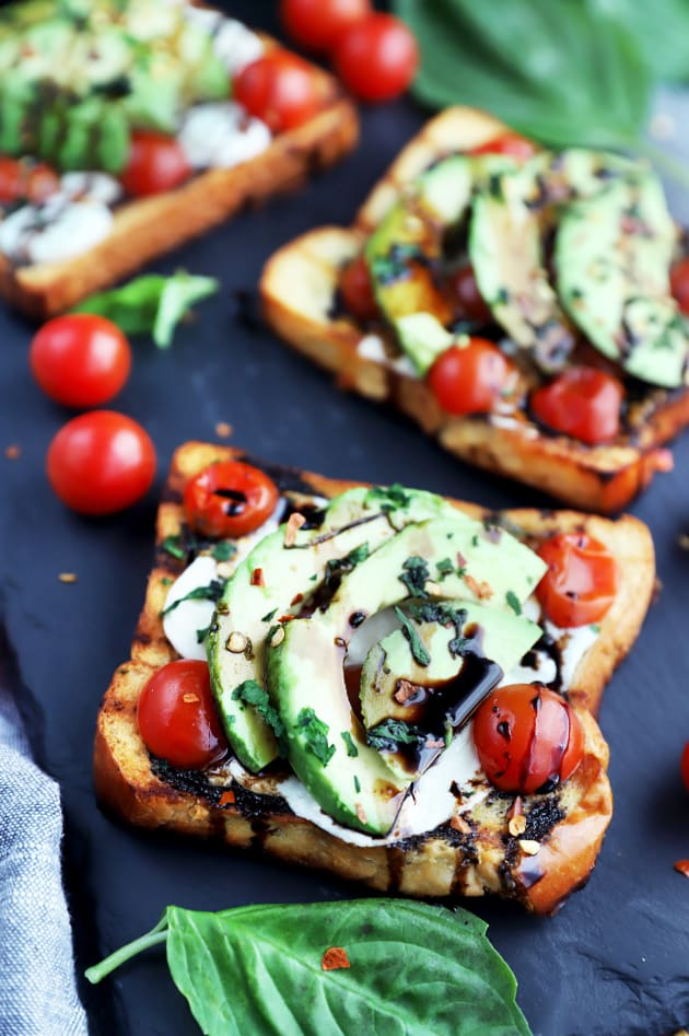 Grilled Open-Faced Avocado Caprese Sammies Pic