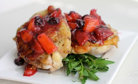 Pan Roasted Chicken with Peach Blueberry Sauce Image
