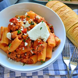 Instant pot sausage and rigatoni with goat cheese photo