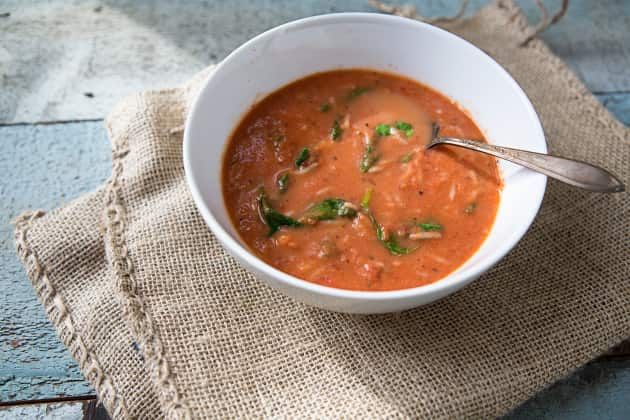 Tomato Rice Spinach Soup