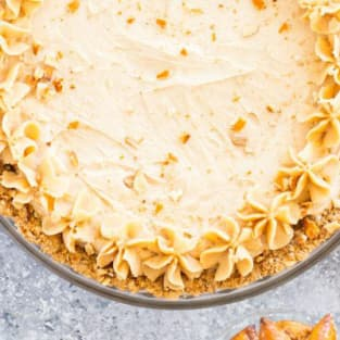 Peanut butter pie with pretzel crust photo
