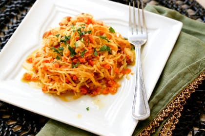 Spaghetti Squash with Walnut-Carrot Sauce
