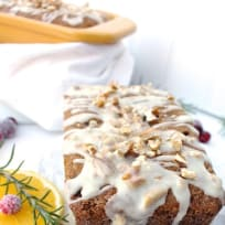 Orange Cranberry Bread with White Chocolate Pecan Glaze
