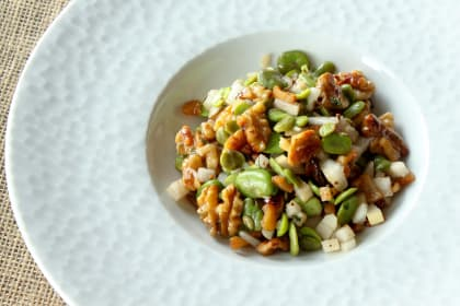Fava Bean Salad: With Walnuts and Pear
