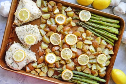 Lemon Chicken Asparagus Sheet Pan Dinner