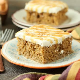 Pumpkin spice latte poke cake photo