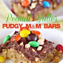 Peanut Butter Fudgy M&M Bars