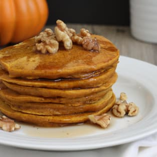 Whole grain pumpkin pancakes photo