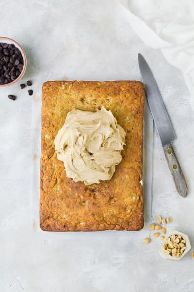 Banana Sheet Cake with Peanut Butter Frosting Picture