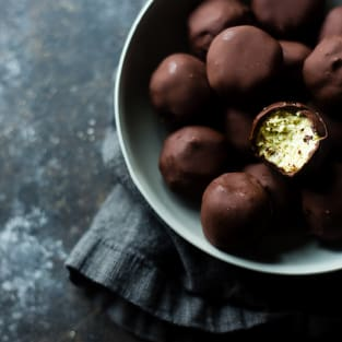 Avocado cheesecake truffles photo