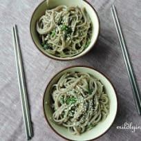 Japanese style soba noodle with scallion sauce