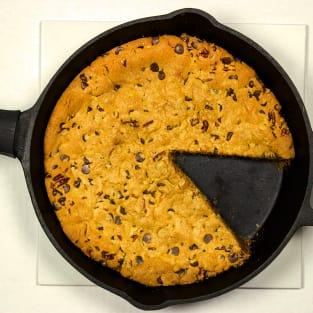 Cast iron chocolate chip cookie photo