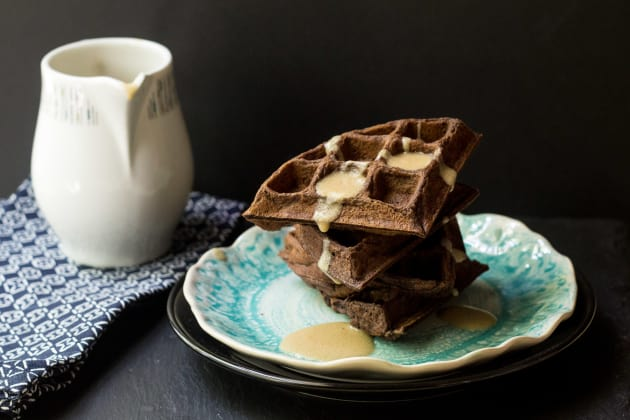 Chocolate Waffles with Whiskey Butter Sauce Image