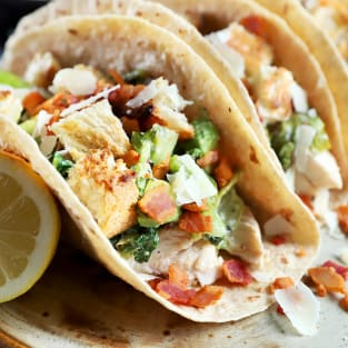 Charred caesar salad avocado tacos photo
