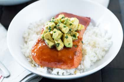 Sriracha Glazed Salmon with Asian Avocado Salsa
