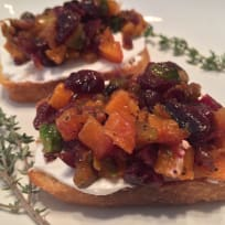 Butternut Squash, Cranberry, and Pistachio Crostini