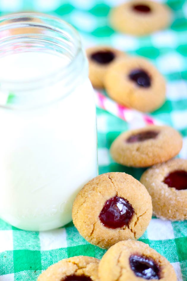 Peanut Butter & Jelly Thumbprint Cookies Image