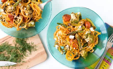Roasted Spring Vegetables with Butternut Squash Noodles Recipe