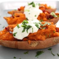 Twice Baked Bacon Sweet Potatoes With Maple Cream