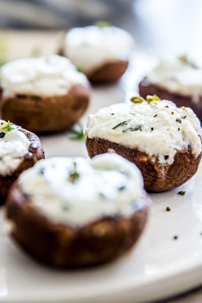 Garlic Herb Goat Cheese Stuffed Mushrooms Image