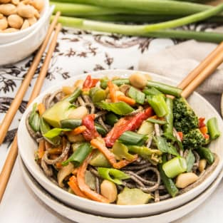 Soba noodle stir fry photo