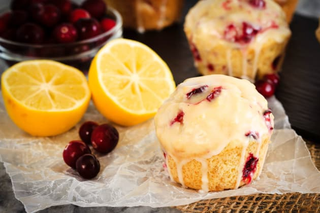 Glazed Lemon Cranberry Muffins Photo