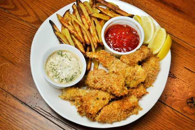 Baked Fish and Chips Photo