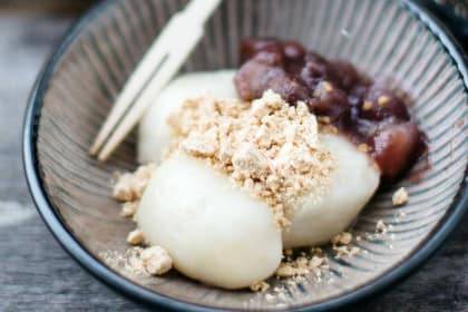 Kinako Mochi with Red Bean Paste