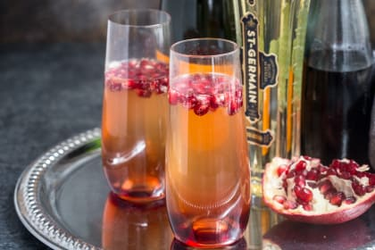 St. Germain and Pomegranate Champagne Cocktail