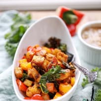 Cuban style Sweet potatoes plantain and tofu bake