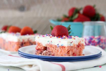 Funfetti Strawberry Poke Cake